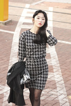 SMOMA houndstooth two piece skirt suit