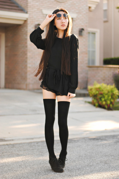 thigh high Soxxy socks - lace OASAP shorts - Ray Ban sunglasses