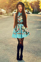 blue floral romwe dress - romwe tights