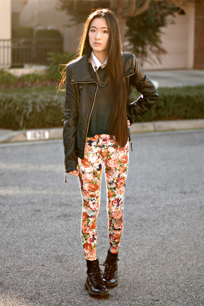 floral 2020AVE leggings - vivilli jacket - romwe accessories