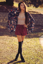 handmade shorts - floral corset Forever 21 top - Target cardigan