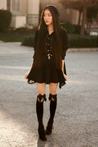 lock and key romwe belt - knee high bow OASAP socks - cross print awwdore blouse