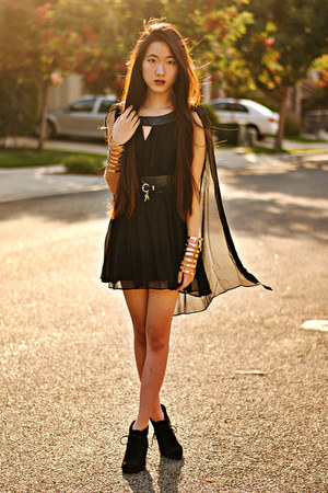 cut out cuff Forever 21 bracelet - chiffon cape OASAP dress