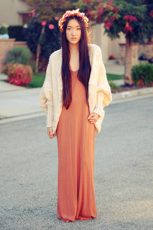 chunky batwing romwe cardigan - rust maxi Forever 21 dress - DIY accessories