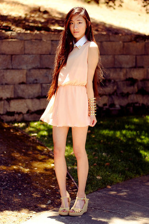peach pleat Love dress - studded collar DIY accessories