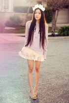off white petticoat vintage skirt - light purple slouchy crew VS pink sweatshirt