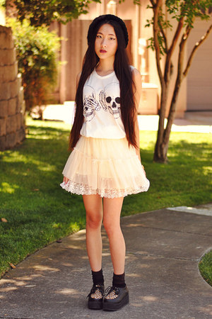 lace petticoat vintage skirt - OASAP sneakers - skeleton hand romwe ring