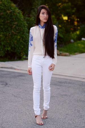 china print The Editors Market blouse - white skinny Articles of Society jeans