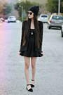 Beaded-sleeve-lulus-blazer-black-skater-romwe-skirt-ebay-necklace