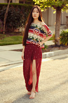 lulus skirt - aztec pullover ellysage top - Nine West pumps