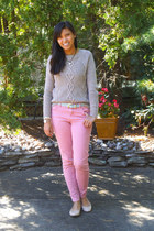brown H&M sweater - pink Forever21 pants - tan Payless flats