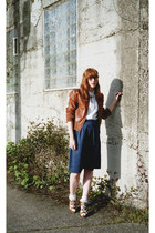 navy seude vintage skirt - brown leather bomber Target jacket