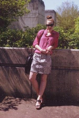 hot pink thrifted vintage blouse - black fringe H&M bag