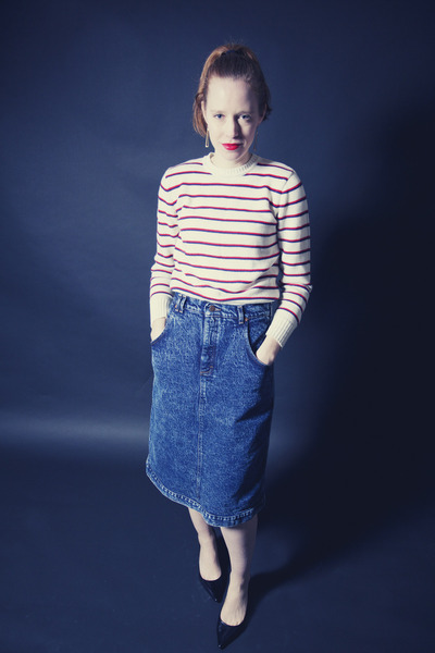 white striped vintage sweater - blue stonewashed vintage skirt