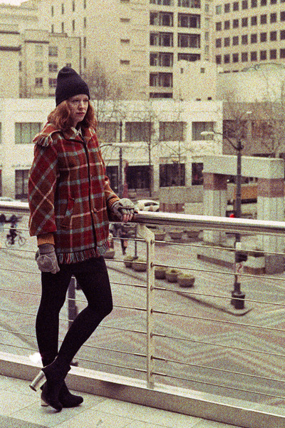 vintage coat - black metal heel Zara boots