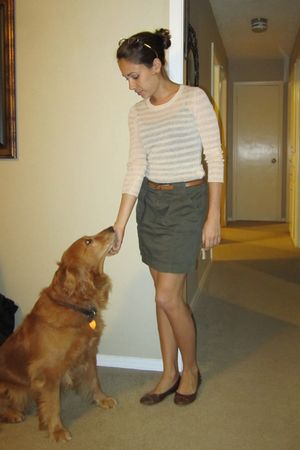 green Old Navy skirt - beige banana republic sweater