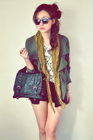 army green coat - white shirt - mustard scarf - black bag