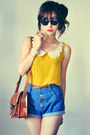 Mustard-shirt-eggshell-shirt-crimson-bag-navy-shorts-black-sunglasses