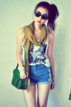 dark green bag - mustard scarf - sky blue shorts - off white belt