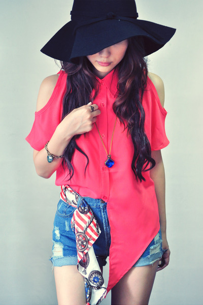 navy accessories - sky blue jeans - salmon shirt