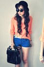 Navy-vintage-diy-shorts-light-orange-blouse-ivory-belt