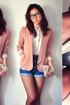 peach blazer - dark gray shoes - off white shirt - navy shorts