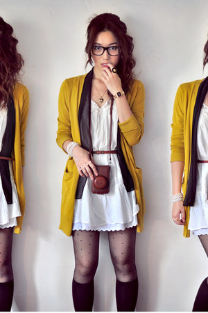 dark brown bag - white dress - black socks - mustard cardigan