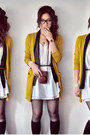 White-dress-dark-brown-bag-black-socks-mustard-cardigan