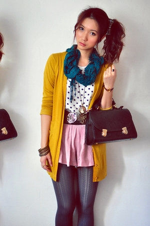 mustard cardigan - white shirt - teal scarf - light pink skirt - gray stockings