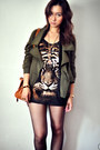 Army-green-jacket-black-shirt-brown-shirt-cream-shirt-dark-brown-bag-g