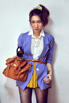 dark brown bag - violet blazer - cream shirt - burnt orange belt - mustard skirt