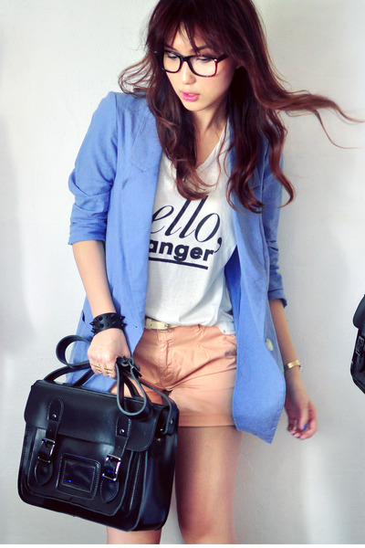 ivory shirt - sky blue blazer - peach shorts