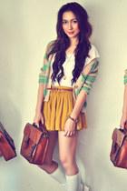 ivory shirt - dark brown bag - aquamarine cardigan - mustard skirt