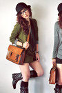 Black-boots-charcoal-gray-shirt-brown-bag-army-green-cardigan
