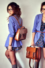 Salmon-dress-off-white-dress-navy-dress-violet-blazer-dark-brown-bag-h