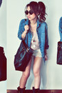 Sky-blue-jacket-black-bag-off-white-shorts-light-pink-top
