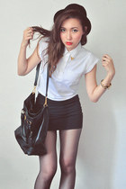 black skirt - white top