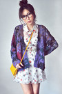 Coral-dress-white-dress-mustard-bag-deep-purple-cardigan