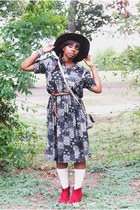 dark gray floral vintage dress