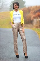 yellow H&M blazer - camel Lulus pants