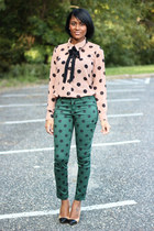 nude Forever 21 blouse - teal Forever 21 pants