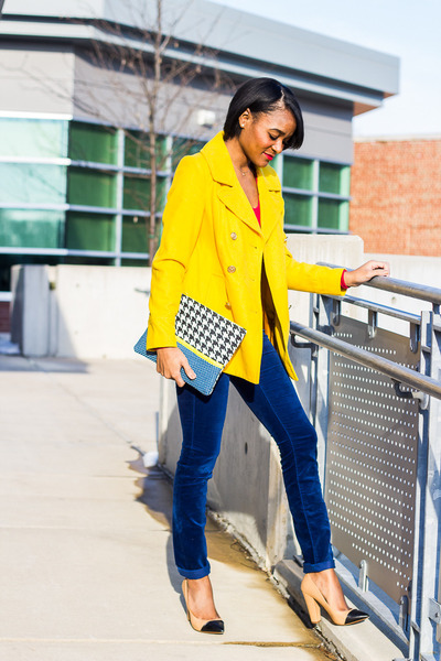 yellow Old Navy coat - navy Gap pants