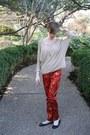 Beige-forever-21-sweater-black-steve-madden-flats-ruby-red-asian-brocade-thr