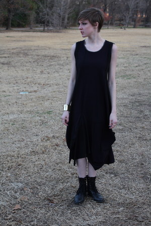 black combat Forever 21 boots - black thrifted dress - gold fish scale Charming