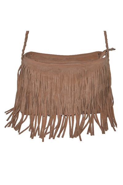 dark khaki fringe bag