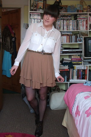 Primark necklace - thrfted boots - new look shirt - Marks and Sparks skirt