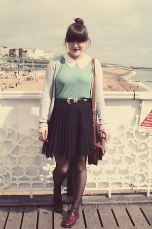 thrifted skirt - Urban Outfitters bag - Topshop flats - Topshop top