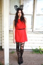 black thriftedifted Studded rose vintage dress - Ebay random tights - black Targ