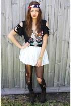 ivory Thrifted biker tshirt t-shirt - ebay White tutu skirt skirt