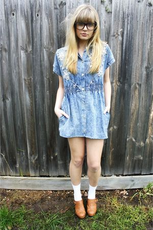 blue Studded rose vintage dress